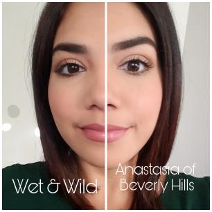 Lado derecho Wet n Wild, lado izquierdo Anastasia of Beverly Hills